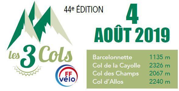 """Manifestation """"Les 3 COLS"""" du 4 août organisée par le Club Cyclotouriste de l'Ubaye (Barcelonnette-04)"""